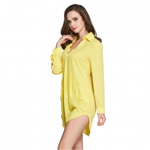 Yellow Utility Long Sleeve Blouse Dress V Neckline