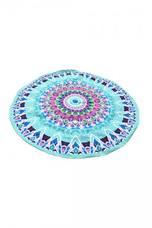Seaside Printing Sky Blue Round Tapestry Beach Mat