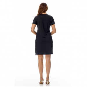 Plain Short Sleeve Letter Black Round Neck Dress Side Slit
