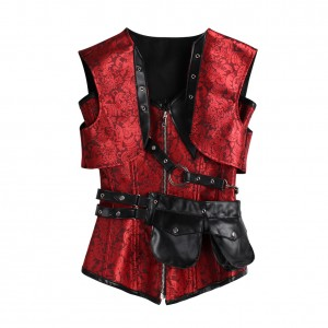 Gorgeous Red 24 Steel Bones Jacquard Corset Leather Pocket