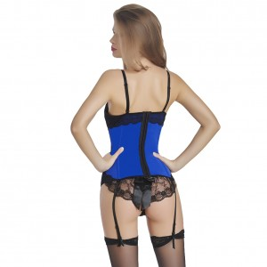 Bow Embellishments Blue Lace Bustier Corset Hook Closure
