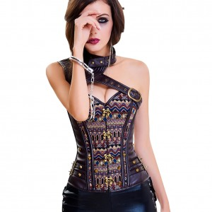 Lace-Up Back One Shoulder Overbust Corset 2 Piece