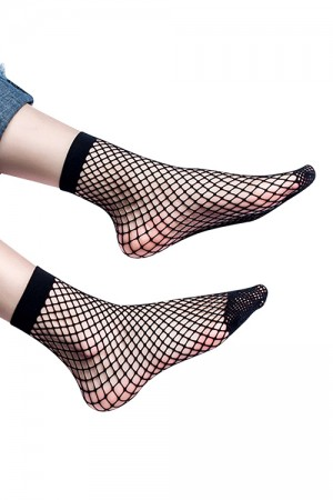 Sultry Solid Black Mesh Cover Tight Fishnet Socks