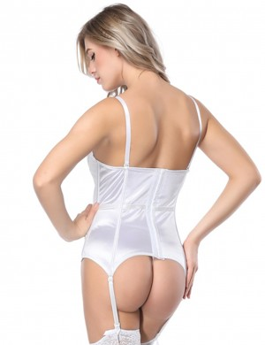 Hourglass Silhouette White Lace Stitching Bustier Bowknot Decor