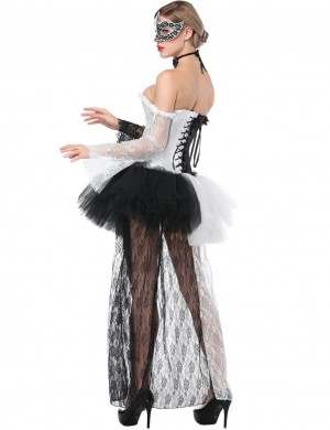 Cool Lace Up White Corset With Skirts Long Sleeves Body-Hugging
