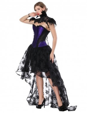 Slinky Asymmetrical Purple Corset Skirt Set Lace Stitching