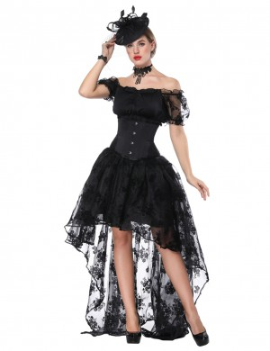 Inspired Black Flower Lace Three Pieces Corset Dress Off Shoulder