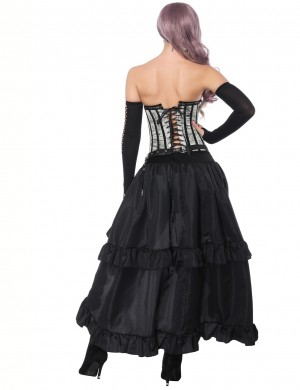 Flat Out Mental Hole Grey Overbust Corset With Layered Skirt