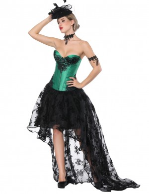 Burlesque Green Tie Back Lace Two Piece Bustier Skirt Asymmetric