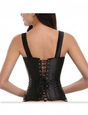 Plus Brocade Overbust Black Corset 10 Steel Bones Zipper Front