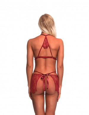 Affordable Wine Red Waist Bowknot Babydoll With G-String Lace