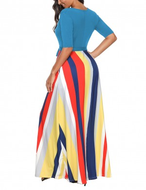 Showy Light Blue Striped Printing Long Dress Ankle Length