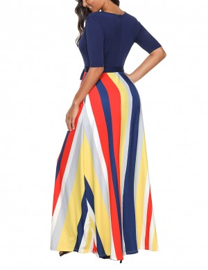 Incredible Navy Blue Bowknot Sash Maxi Dress Multi-Color Stripe