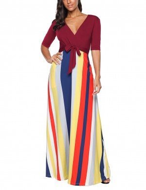 Suave Wine Red Deep V Neck Maxi Dress Rainbow Color Half Sleeve