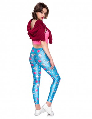Individualistic Blue 3D Digtal Print Cropped Tights Mid Waist