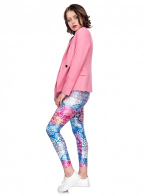 Airy Mid Rise Digtal Print Cropped Legging Soft