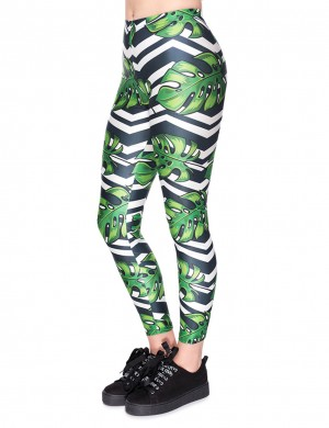 High Elastic Green Mid Rise Palm Print Workout Legging For Ladies