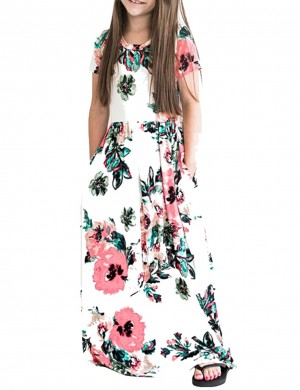 Vibrant Print Girls Maxi Dress With Pockets White For Beauty