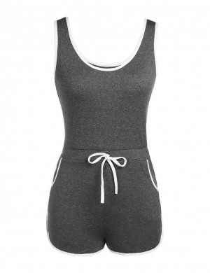 Loose Grey Sleeveless Rompers Elastic Waistband All-Match Fashion
