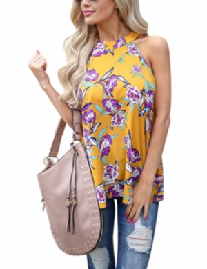 Yellow Sleeveless Blouse Flower Pattern Glamor Women