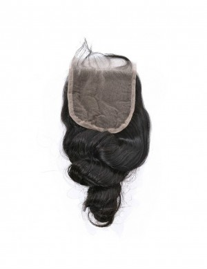 Loose Wave Closure Swiss Lace Middle Part 120% Density 1 Piece Human Hair Brazilian