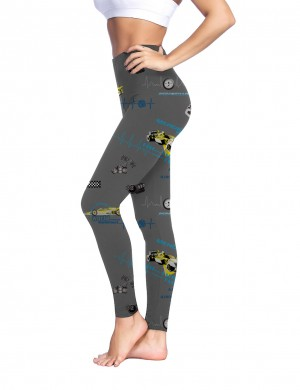 Adventure Grey Mid Rise Brushed Leggings Car Print Casual Comfort