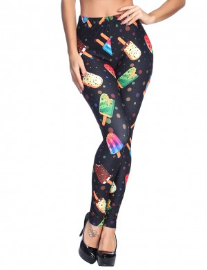 Splendid Summer Printing Brushed Leggings Elastic Waist Women Clothing