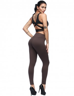 Magical Brown High Waist Brushed Leggings With Pocket Latest Trends