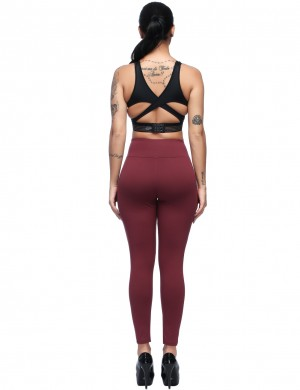 Skinny Purplish Red Small Pockets Brushed Leggings High Rise Womens Trendy