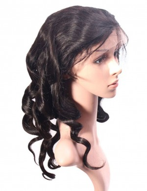 Human Virgin Hair Natural Color Full Lace Loose Wave Wig Pre-Plucked