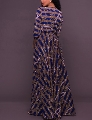 Brilliant Blue Plunging Print Maxi Dress Long Sleeves Female