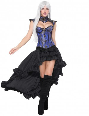 Unassuming Blue 16 Plastic Bones Corset Skirts Set Flower Strengthen