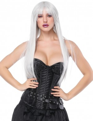 Gothic Black 14 Plastic Bones Overbust Corset With Pocket Superfit Everyday