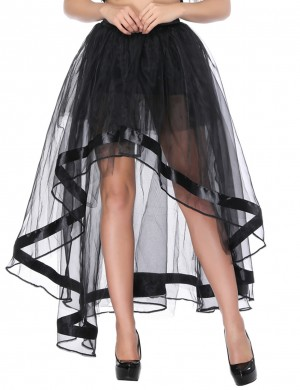 Flattering Black High-Low Irregular Tutu Skirt Multi-Layer Fashion Online