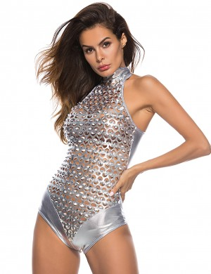 Ecstasy Silver Punching PU Bodysuit Lingerie Sleeveless Nice Quality