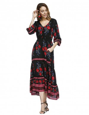 Versatile Black V Neck Print Maxi Dress Decorated Buttons Women's Fashion