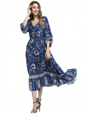 Good-Looking Blue Lantern Sleeve Floral Maxi Dress Decor Buttons