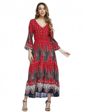Inviting Red Pleated Print Maxi Dresses Lantern Sleeves Breathable