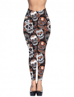 Orange Skull Print Pocket Brushed Leggings Yoga Waist Cheap Online