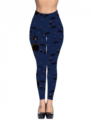 Blue Yoga Waist Pocket Brushed Tights Candies For Traveling