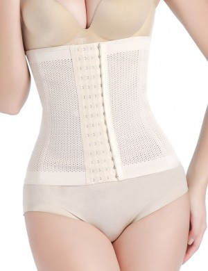 Charming Nude Waist Trainer Hook Eye Queen Size Shapewear