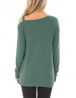 Unvarnished Green Long-Sleeved Shirt Front Twist Hem Fashion Style