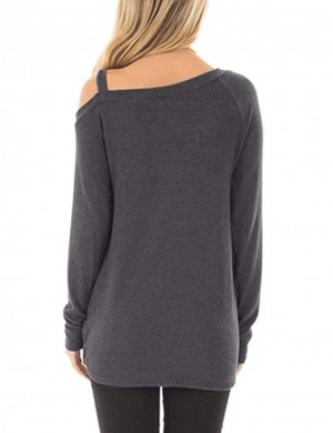Staple Dark Grey Full Sleeves Tops Unsymmetric Shoulder Women Outfits