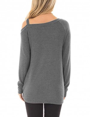 Simply Chic Light Grey Asymmetrical Hem Sweatshirt Solid Color