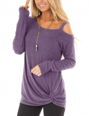 Seductive Purple Asymmetrical Hem Cold Shoulder Shirts Weekend Fashion