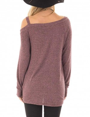 Shimmer Dark Purple One Strap Sweatshirts Asymmetrical Hem Lady Fashion