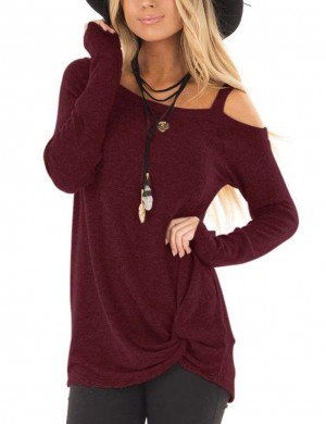 Faddish Wine Red Twist Hem Sweatshirt Single Shoulder Strap Super Sexy