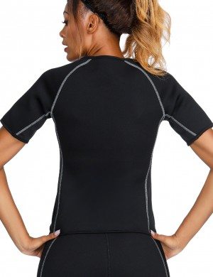 Exquisite Black Short Sleeve Big Size Neoprene Luminous Zip Shaper Comfort