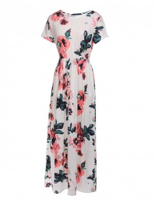 Fascinating White Plus Floral Long Dress Round Collar Comfort Women
