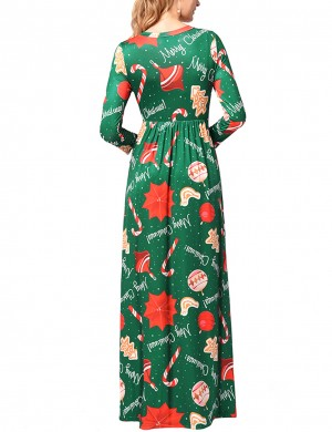 Ultra Sexy Green Xmas Pattern Ruched Maxi Dresses Plus Size Understated Design